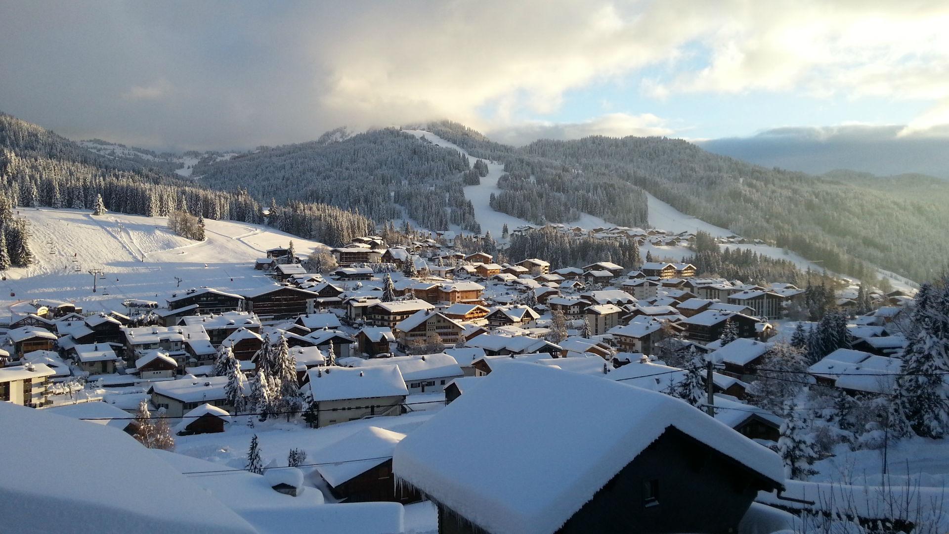 Les Gets Ski Slopes, Sunset